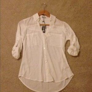 NWT Express womens portofino dress shirt white XS